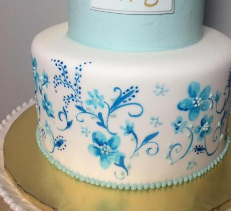 Hand painted fondant birthday cake