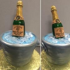 Sculpted fondant champagne bottle
