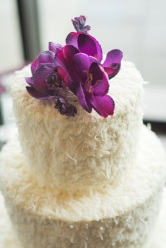 Cakes by Frosted Custom Coconut Simple Floral Wedding Cake View More: http://jphinneyphotography.pass.us/derekallyson